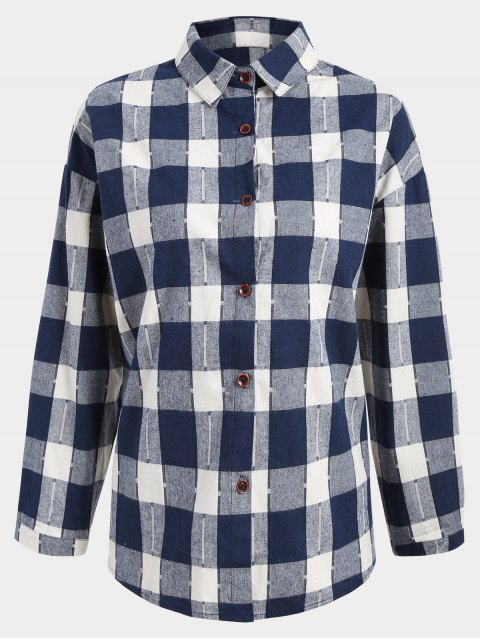 buy Button Up Checked Plus Size Shirt - BLUE AND WHITE 2XL Mobile