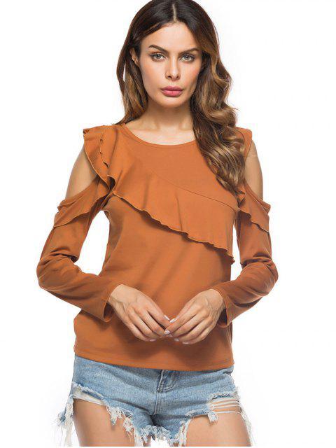shops Cold Shoulder Ruffled T-shirt - EARTHY M Mobile