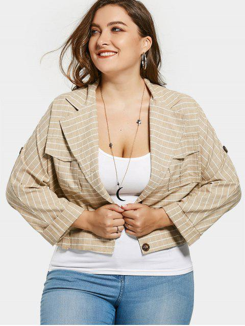 lady Lapel Neck Striped Plus Size Coat - KHAKI 2XL Mobile