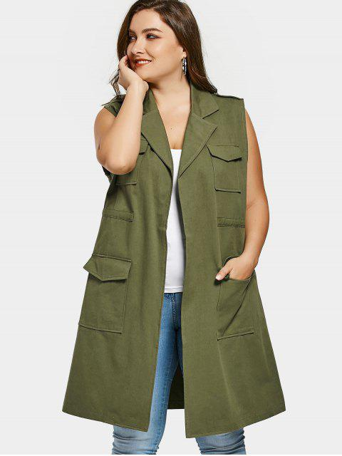womens Pockets Lapel Collar Plus Size Waistcoat - ARMY GREEN 3XL Mobile