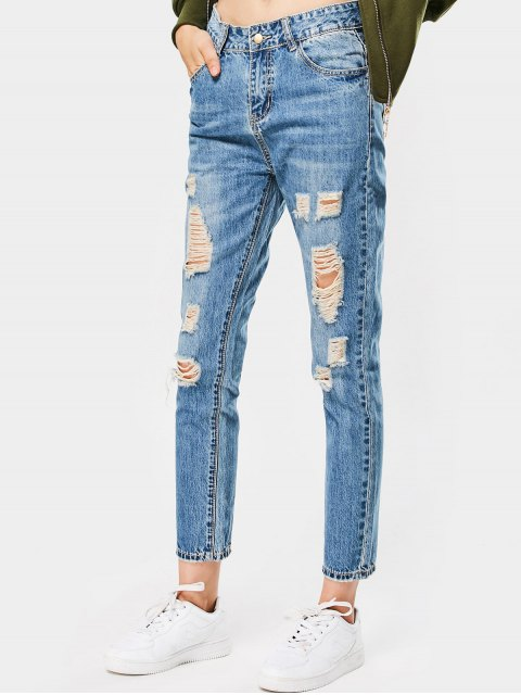 online High Waisted Destroyed Ninth Pencil Jeans - DENIM BLUE 26 Mobile