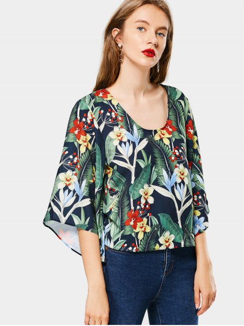 trendy Kimono Sleeve Floral Cut Out Blouse - FLORAL S Mobile