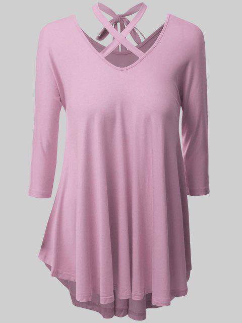 Plus Size Criss Cross High Low T-Shirt - Pink 2XL Mobile