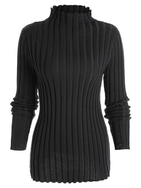 lady Plus Size Ribbed High Neck Sweater - BLACK 2XL Mobile