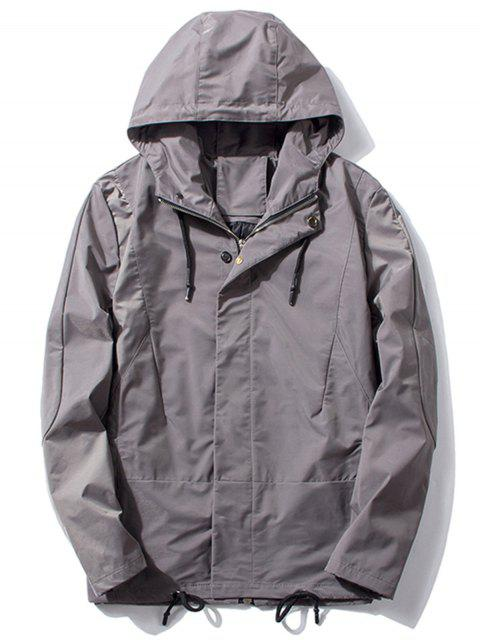 women Hooded Thicken Drawstring Zip Up Jacket - GRAY 2XL Mobile