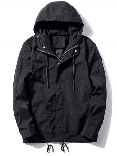 lady Hooded Thicken Drawstring Zip Up Jacket - BLACK 2XL Mobile