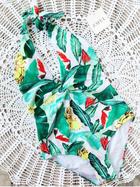 fashion Leaf Print Twist Halter Swimwear - GREEN M Mobile