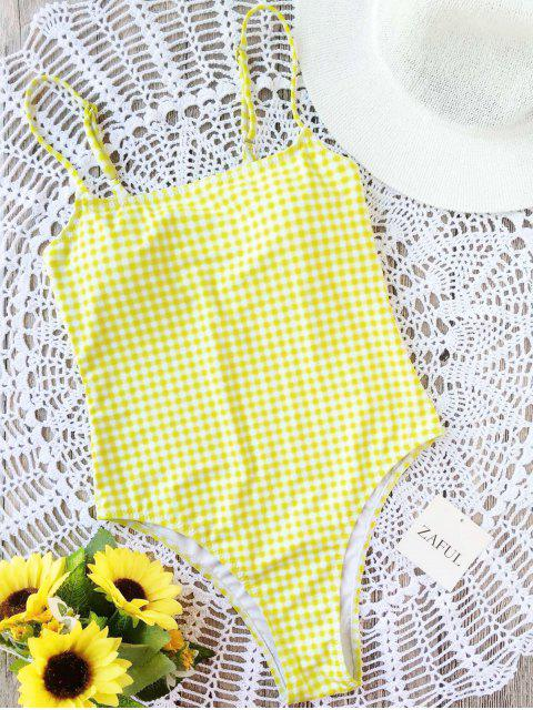 shops Plaid High Cut One Piece Swimsuit - WHITE AND YELLOW S Mobile