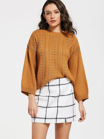 Sheer Loose Cable Knit Sweater - Light Coffee
