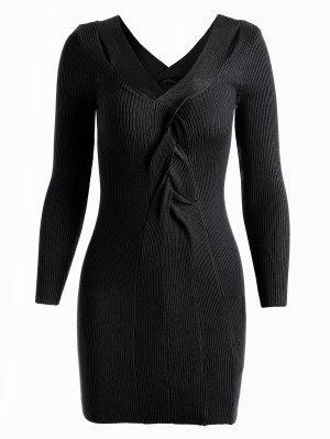 Robe Tricotée à Col En V - Noir - Noir