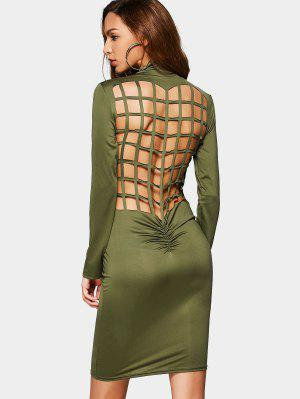 Ruched Back Cut Out Club Bodycon Dress