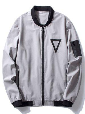 Stand Collar Triangle Embroidered Bomber Jacket