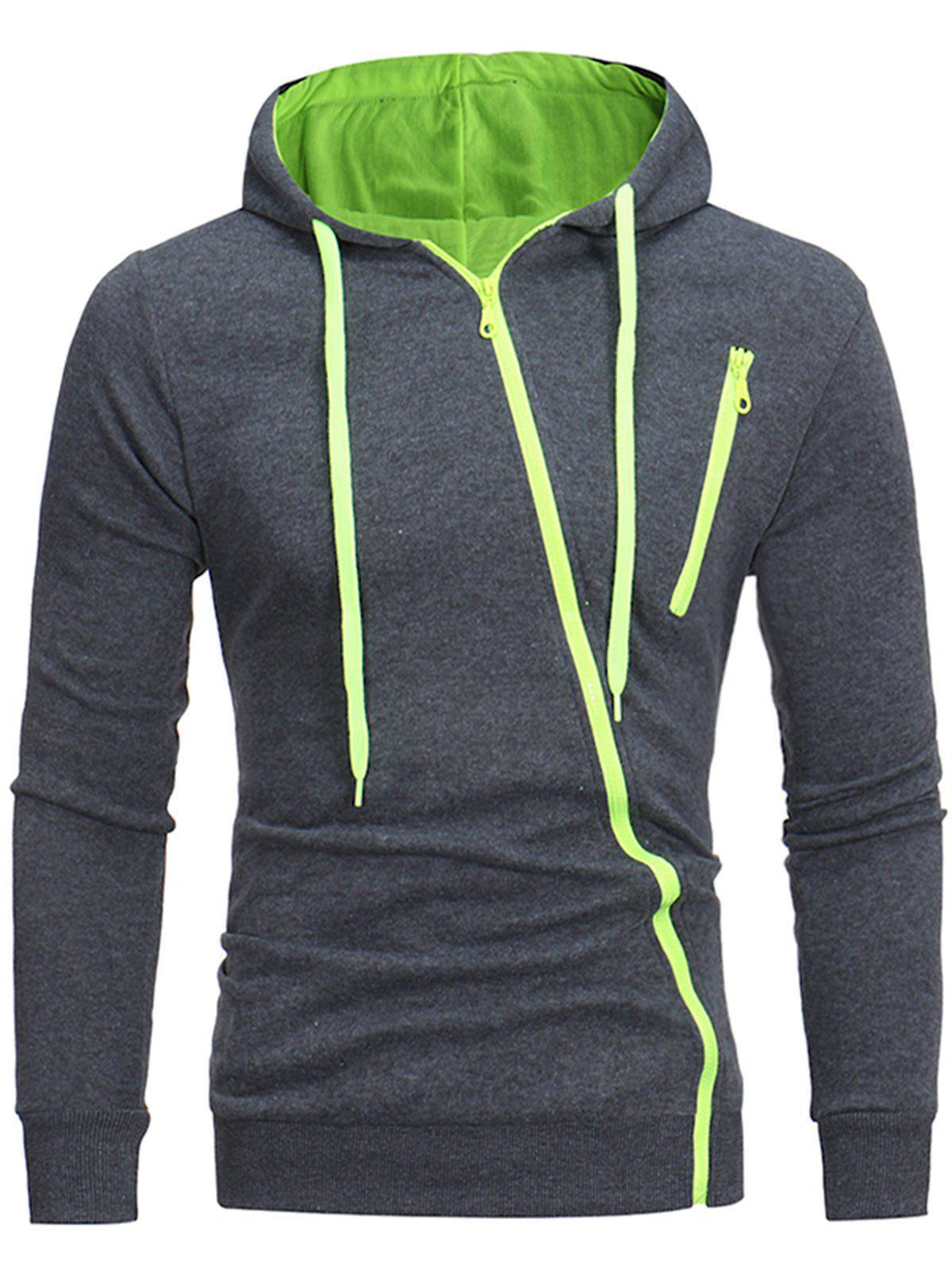 Oblique Zippers Color Block Fleece Hoodie 224461319