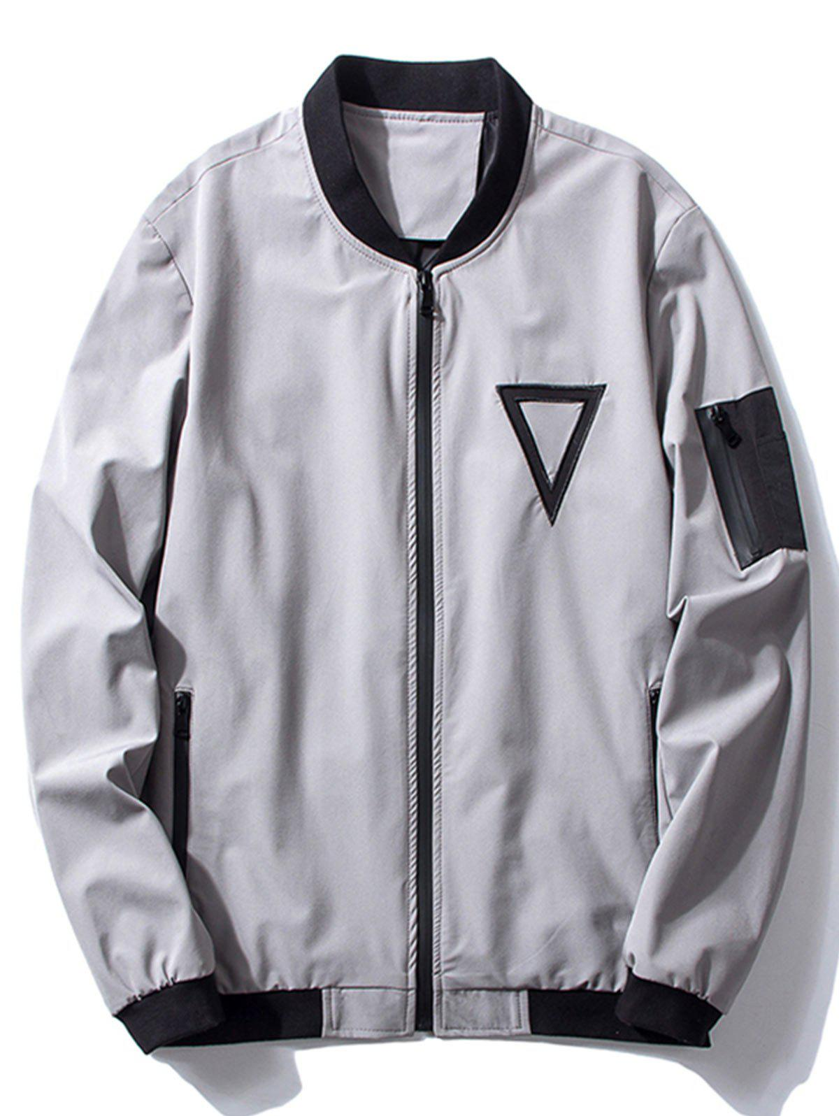 Stand Collar Triangle Embroidered Bomber Jacket 224516104