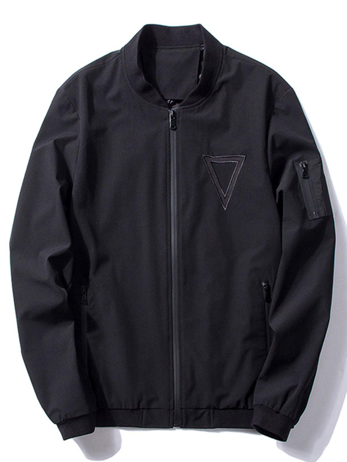 Stand Collar Triangle Embroidered Bomber Jacket 224516108