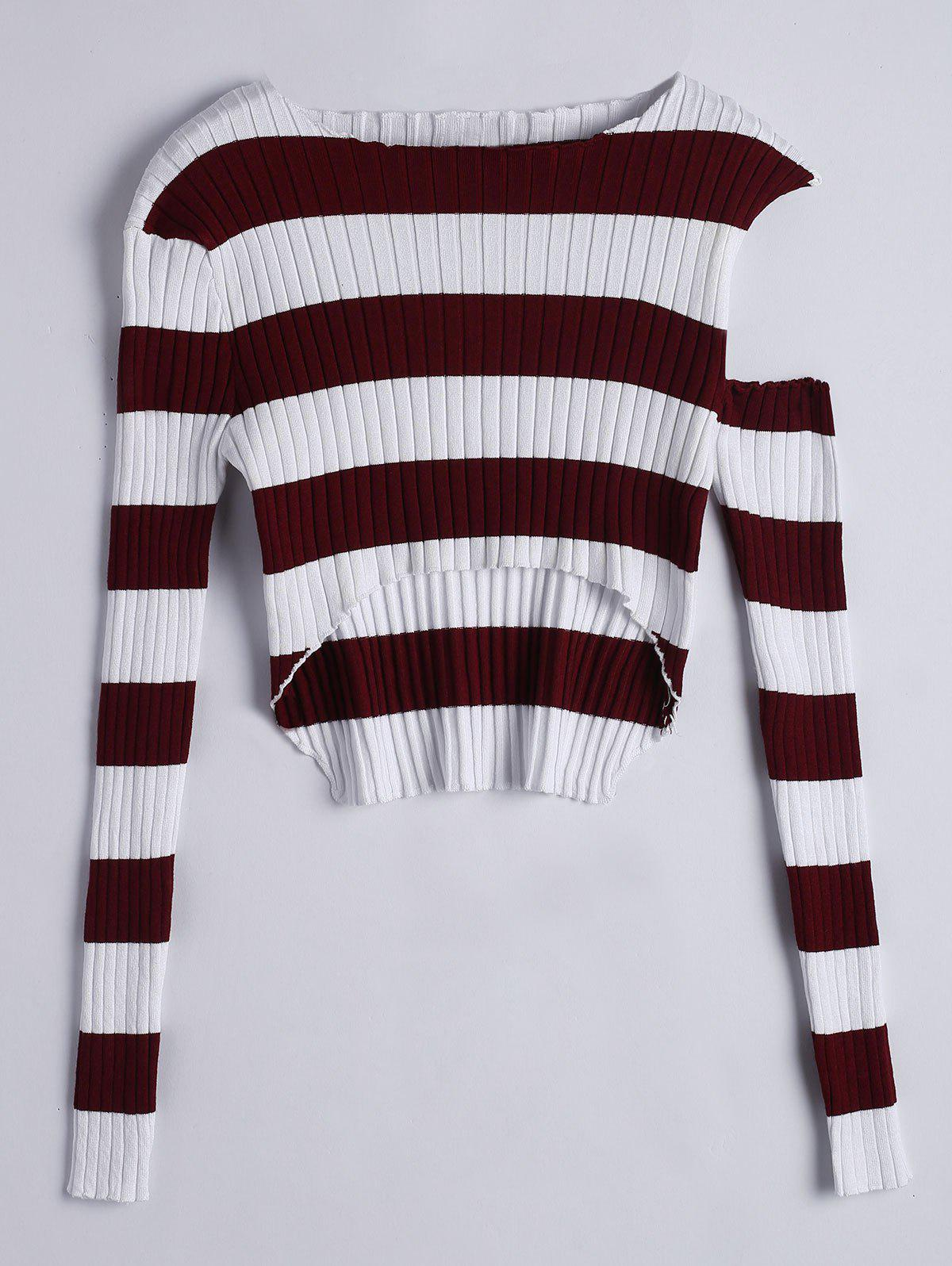 Asymmetrical Cut Out Striped Knitwear 221717303