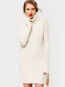Sweater Long Col Roulé Tressé Avec Fente Latérale - Blanc Cassé