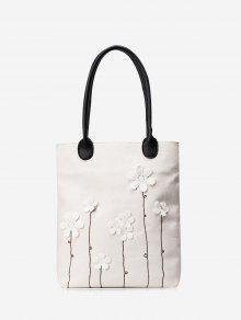 حقيبة الكتف مطرزة بالأزهار - أبيض