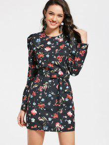 فستان ضيق طباعة الأزهار مربوط طويلة الأكمام - الأزهار M