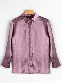 زهرة مطرزة قميص الساتان - زهري غامق
