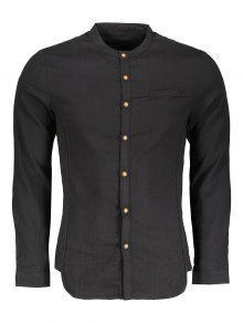 الوقوف طوق زر أعلى قميص - أسود Xl