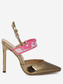 Stiletto Heel Buckle Strap Slingback Pumps - Golden 38