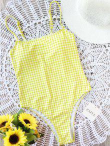 Cami Checked High Cut Swimwear - Amarelo L