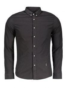 زر أسفل القميص الرسمي - أسود 3xl
