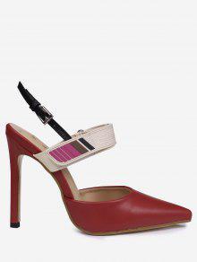 Stiletto Heel Buckle Strap Slingback Pumps - Red 40