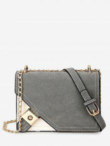 Metal Embellished Chain Color Block Crossbody Bag - Gray