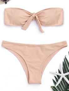 Gepolsterter Front Tied Bandeau Bikini - Pinkbeige L