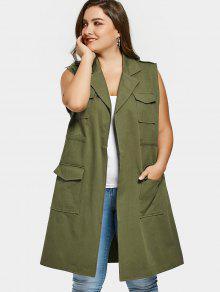 جيوب التلبيب الياقة زائد الحجم صدرية - الجيش الأخضر 5xl