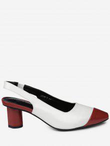 Slingback Mid Heel Color Block Pumps - Red 39