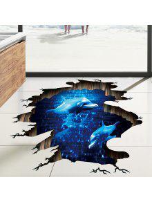 دولفين 3d كسر ملصق الكلمة لغرفة المعيشة - أزرق 60*90cm