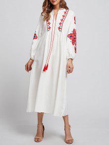 كم النفخة مطرزة ميدي التحول اللباس - أبيض