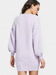 Drop Shoulder Lantern Sleeve Sweater Dress LIGHT PURPLE: Sweater ...
