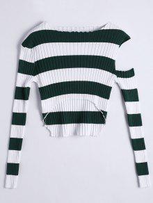 Asymmetrical Cut Out Striped Knitwear - Green