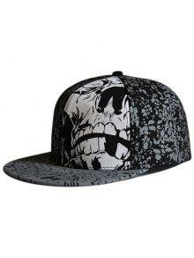الجمجمة نمط بقعة مطبوعة شقة حافة قبعة - أسود