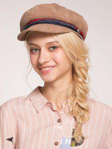 ... Woven Rope Embellished Pinstriped Beret Hat ...