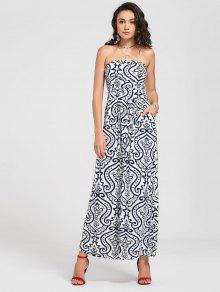 Vestido Largo Sin Tirantes De La Impresión De Paisley - Blanco Xl
