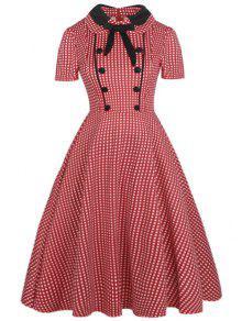 خمر بونوت أزرار مزين اللباس - أحمر 2xl