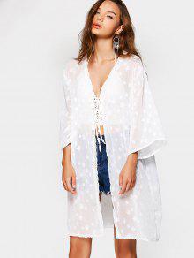 Blusa Kimono Em Renda E Aplique - Branco