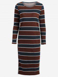 Pullover Midi Kleid Mit Langarm Und Streifen  - Streifen  L