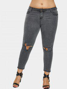 Pantalones Vaqueros Rasgados Talla Grande - Gris 4xl