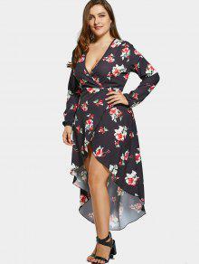 Vestido Largo Floral De Gran Altura Con Sobrepelliz Y Talla Extra Grande - Negro 5xl