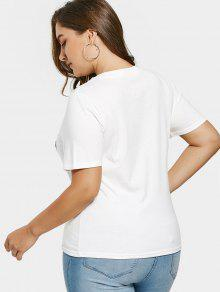 93ff1fa20 22% OFF] 2019 Sequins Flamingo Patch Plus Size T-shirt In WHITE | ZAFUL