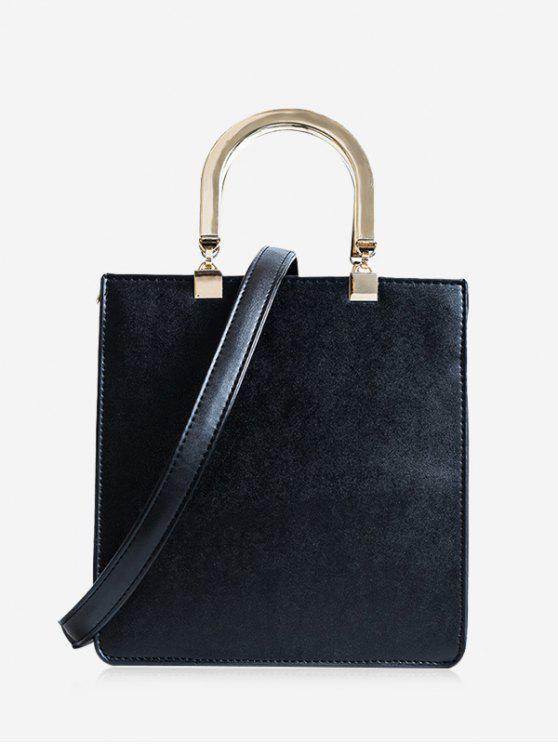 women Faux Leather Handbag With Strap - BLACK