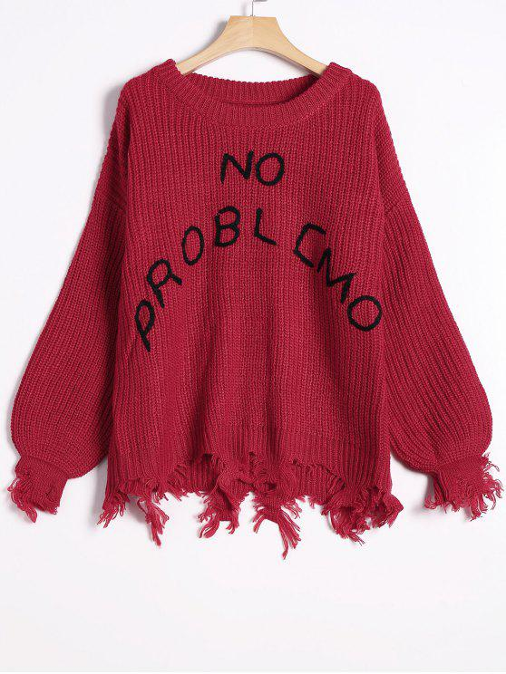new Loose Ripped Tassels Letter Sweater - RED ONE SIZE