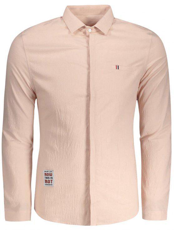fashion Textured Button Up Shirt - BABY PINK 3XL