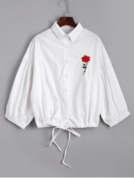 new Bow Tied Rose Embroidered Shirt - WHITE ONE SIZE